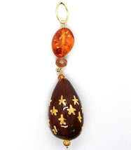 18K YELLOW GOLD PENDANT AMBER CITRINE ADULARIA, POTTERY DROPS HAND PAINTED STA image 1