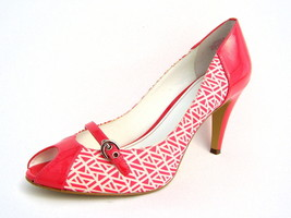 "Anne Klein Dark Pink & White Peep Toe Heels Women's 11M 3¾"" Heels Excellent - $22.52"