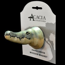 Acacia Creations Hand Carved Jacaranda Wood Safari Alligator Magnet Made Kenya - $245,42 MXN