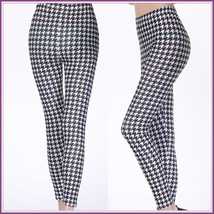 Houndstooth Black n White Plus Size Stretch Faux Latex Mid Waist Leggings  image 3