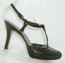 AK Anne Klein Endeare brown patent leather t-strap laer cut out heels 6M - $18.49