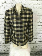 Sag Harbor Womens Sz 10 Jacket Multi Color Plaid Knit Shell Sweater Coat... - $19.79