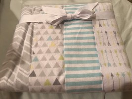 Circo Geo Patchwork 4 pack Receiving Blankets Nursery Yellow baby arrows gray - $22.05