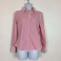 Tommy Hilfiger Women's Pink Striped Cotton Stretch Shirt Blouse Size Medium - $14.95