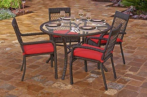 5-Piece Beacon Cappuccino Weave Resin Wicker Outdoor Chair and Dining Table Set