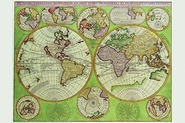 Stereographic World Map with Insets of Polar Projections by Vincenzo Coronelli - - $19.99+