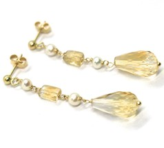 Drop Earrings Yellow Gold, 18K 750, Pearls, Citrine Drop, Faceted image 2