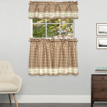 Gingham Stitch Live Laugh Love Kitchen Curtain Tier Pair or Valance Toast - $12.49+