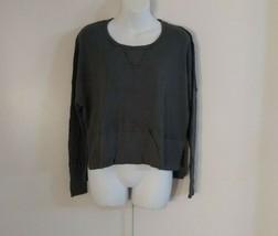 La Made Women's Long Sleeve Scoop Neck Uchic High-Low Gray Green Top Siz... - $32.52