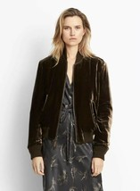 VINCE Womens Velvet Bomber Jacket Brown $545 - $99.99