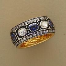 Natural 2.50Ct Rose Cut Polki Diamond Silver Sapphire Band Ring CSJUK294 - $6.261,67 MXN