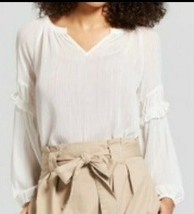 NEW! A New Day Sheer Boho Chic White & Gold Shine Blouse Top - $9.41