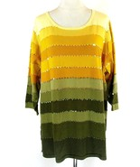 Linea Louis Dell'Olio Size 3X NEW Ombre Stripes Sequins Tunic Sweater - $31.99