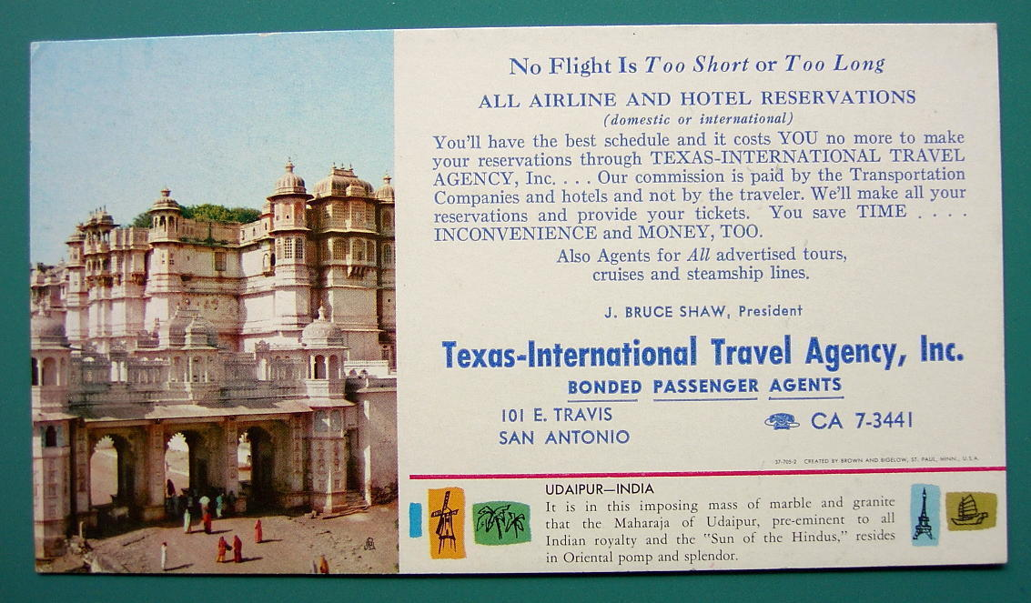 INK BLOTTER 1960s - INDIA Udaipur & AD for Texas San Antonio Travel Agency