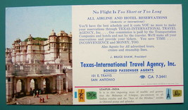 INK BLOTTER 1960s - INDIA Udaipur & AD for Texas San Antonio Travel Agency - $4.49