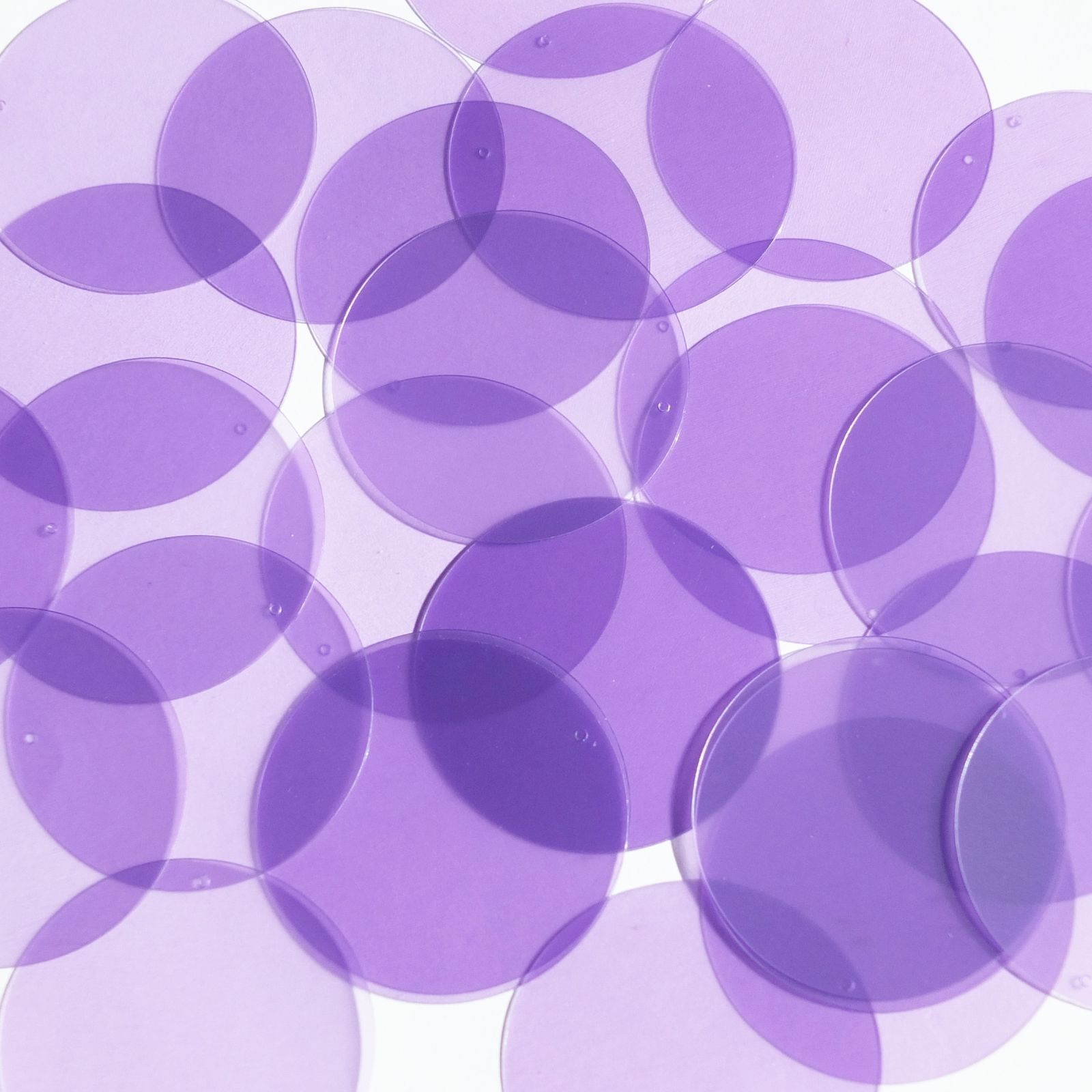 Primary image for Round Sequin 40mm Light Amethyst Purple Transparent Glossy Matte Reversible