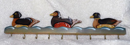 BEAUTIFUL TOLE PAINTED DUCK HANGING RACK! HANDCRAFTED WOOD - $17.59