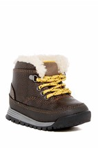 NEW! Carter's Spike2 Dk Brown/Yellow Faux Fur Lined Boot Sz 9 (Toddler) - £19.46 GBP