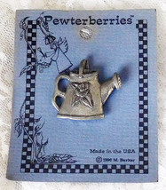 """1996 Pewterberries Watering Can Pewter Pin - 1 1/4"""" tall x 1 1/2"""" wide -... - $12.19"""