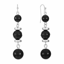 Liz Claiborne Women's Black Round Beaded Drop Earrings Silver Tone New - $17.81