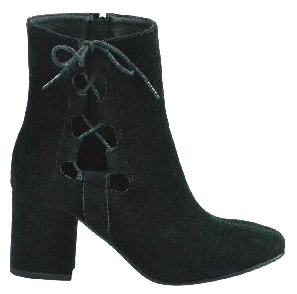 Brand New Women's Rue 21 Gila Block Heel Cut Out Side Laced Boots Black US 9