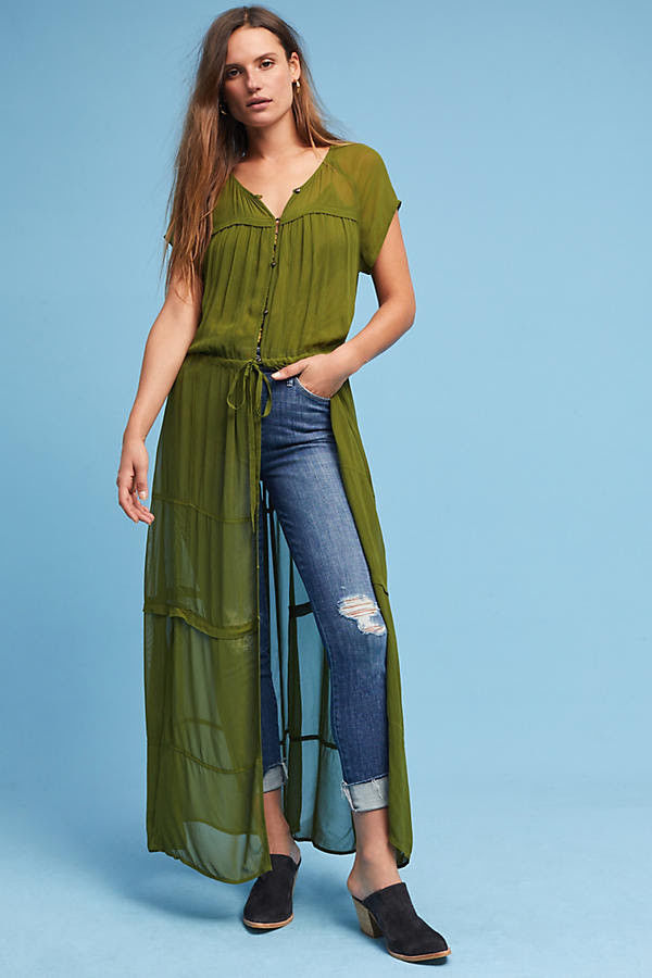 Anthropologie MAEVE Moss Midori Duster / Dress M