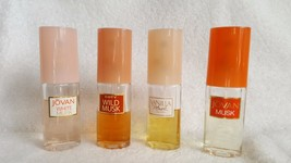 4 Vintage 1 Ounce Bottles Musk  Cologne Jovan Coty Wild White Vanilla  - $19.95
