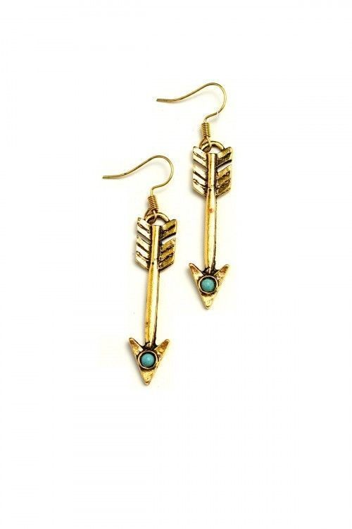 Arrow Dangle Earrings Turquoise Bead Southwestern Cowgirl Fashion Jewelry Gold