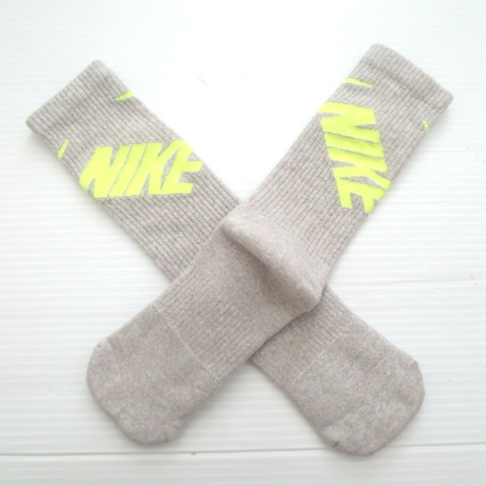 Nike Youth Performance Crew Socks - SX4715 - Gray - Size M (5Y-7Y) - NEW