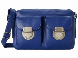 New Fossil Women Riley Top Zip Leather Crossbody Bag Sapphire - $108.89