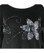 Amanda Smith Black Sweater Sequin Flowers Long Sleeve Size 42 22 W - $32.22