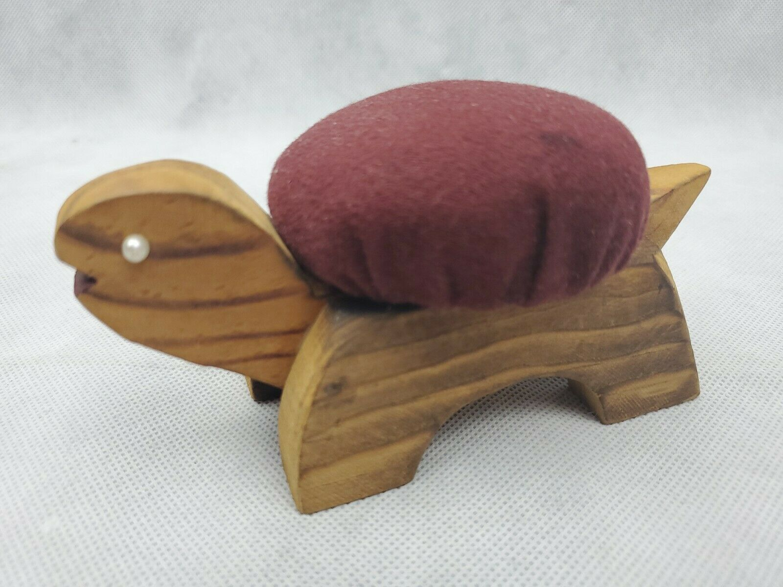 "Vintage Figural TURTLE Sewing Pin Cushion wood maroon 5.5"" image 3"