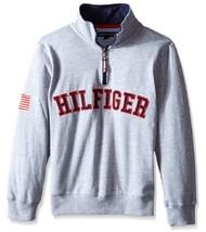Tommy Hilfiger Little Boys' Quarter-Zip Varsity Pullover, Oat Heather, S... - $18.80
