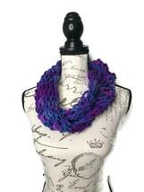 Handmade Purple & Blue Open Knit Infinity Scarf - $13.98