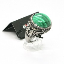Silver Ring 925 Burnished with Malachite and Marcasite Made in Italy by Maschia image 1