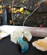 Natural Healing Blue Druzy Quartz Pendant Necklace 925 Sliver Chain BValentines  image 1