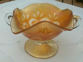 Dugan Carnival Glass Marigold Ruffled Bonbon Dish Question Mark 1904-1931 - $22.00