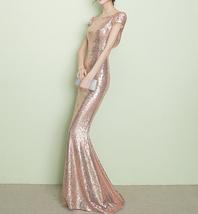 CHAMPAGNE GOLD Short Sleeve Long Sequin Dress Bridesmaid Long Maxi Sequin Dress image 13
