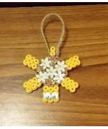 Turtle in Yellow and Brown with Floral Accents Mini Hanging Decor - $1.50