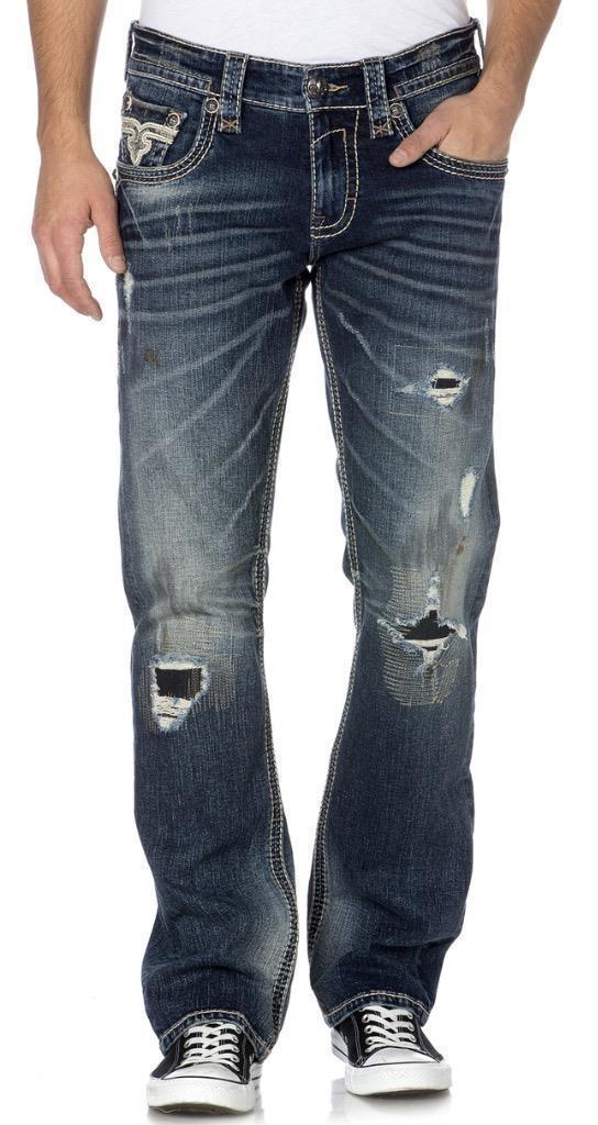 NEW ROCK REVIVAL MEN'S PREMIUM STRAIGHT LEG DISTRESSED JEANS DARK WASH JOEL J200