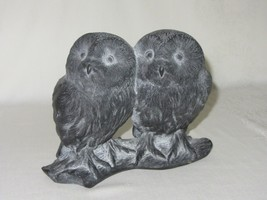 Hen-Feathers Two Owls Figurine Black Statue Vintage Hand Cast Korea - $46.27
