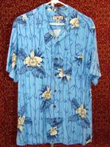 CARIBBEAN JOE blue floral rayon Hawaiian short sleeve shirt M (T39-0DB7) - $11.86