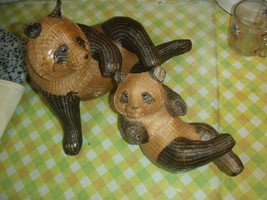 fine woven wicker panda   BEAR Figurine -Mother and baby,./ 419 - $109.61