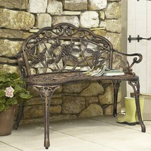 Antique Metal Bench Floral Rose Accented Garden Patio Yard Elegant Styli... - $131.44