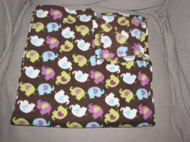 Baby Starters Brown Purple Blue Lime Green White Fleece Elephant Blanket Nwot - $34.05