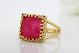 gold cocktail ring,square ring,pink chalcedony ring,double band ring - $45.00+