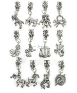Zodiac Dangle Large Hole Bead  Pendant for European Charm Bracelet Made ... - $8.99