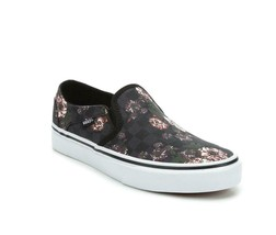 VANS Asher Shabby Floral Subtle Checkerboard Squares Slip-on Shoes Wm's NWT - $52.99