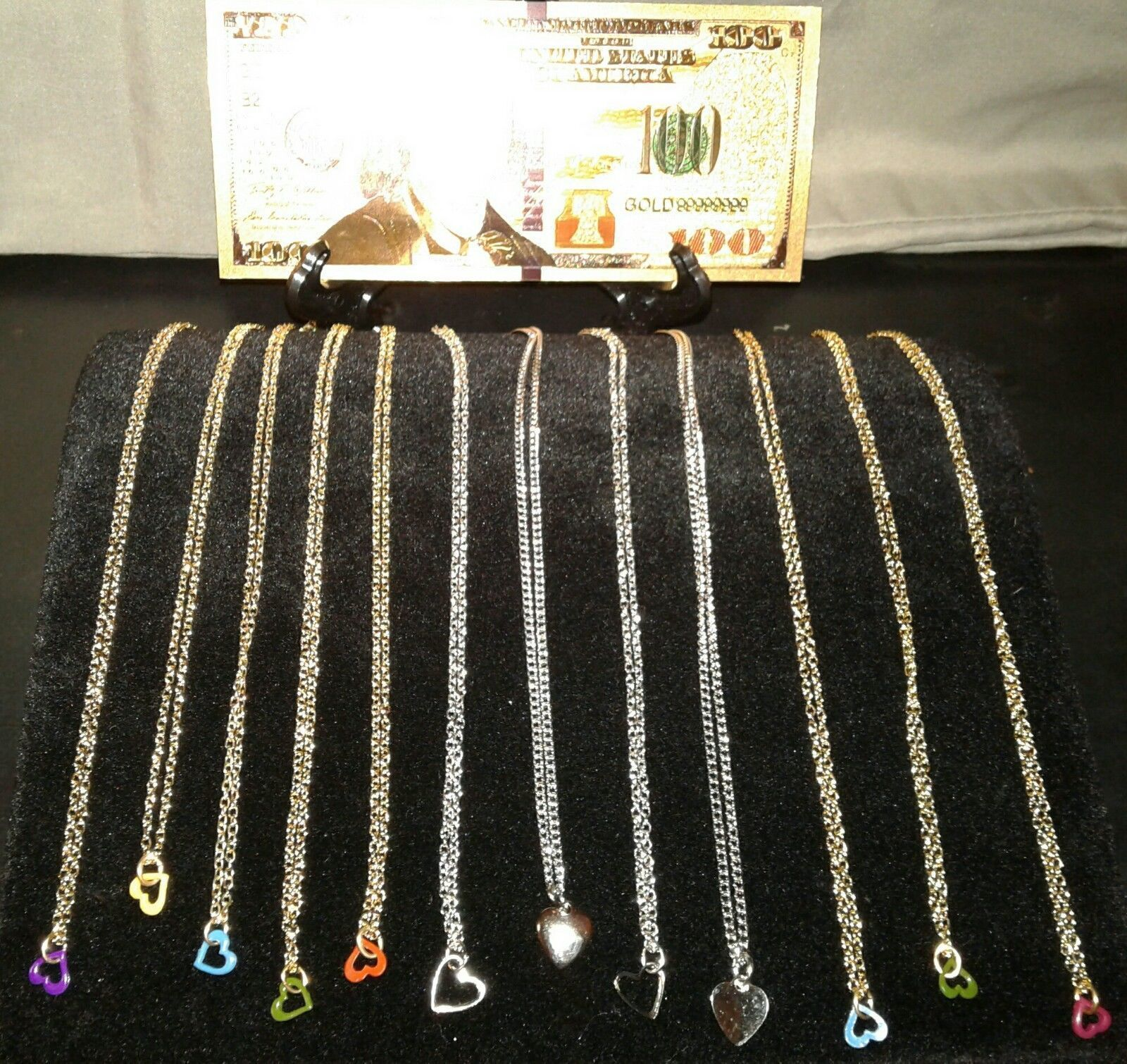 Primary image for MAKE☆OFFER☆GOLD☆ $100 Rep.* Banknote +12 GOLD & SILVER BEAUTIFUL HEART Necklaces
