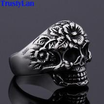 Gothic Stainless Steel Flower Skull Rocker Men's Rings Personalized Retr... - $14.94
